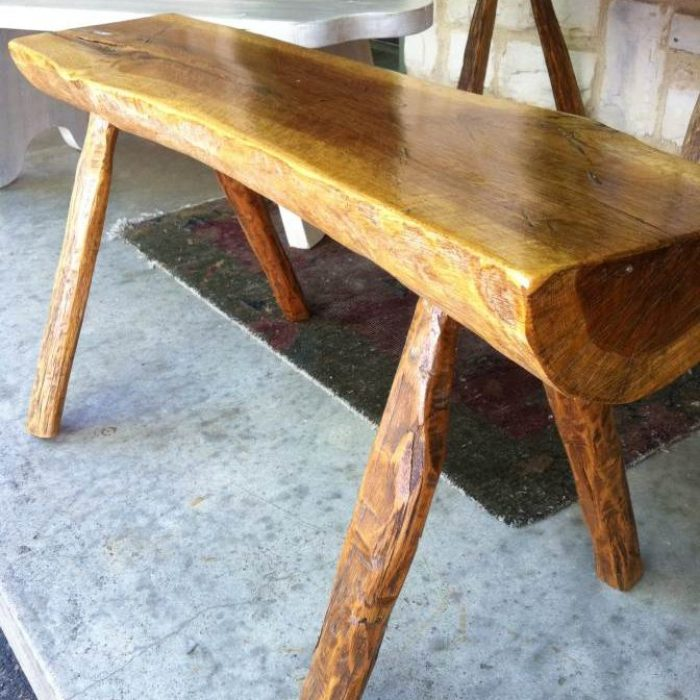 Hand hewn oak bench. Legs hand shaped with small axe.